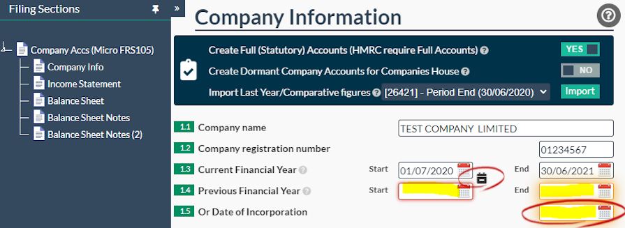 Company Micro Accounts Income Statement