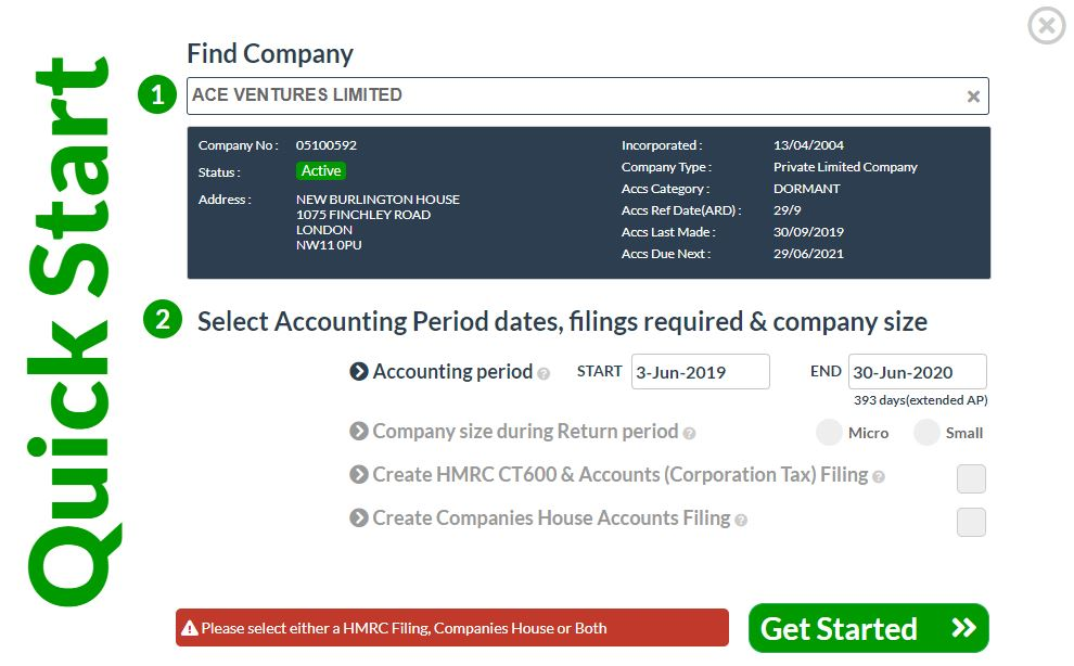 CT600 and companies House filing QuickStart